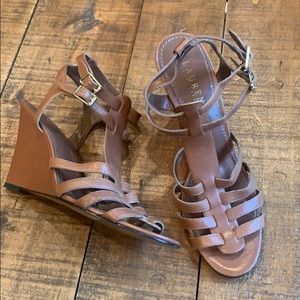 Lauren leather caged wedge sandal
